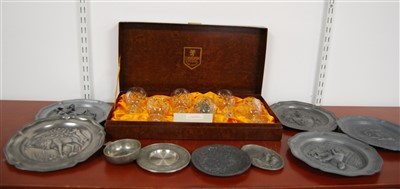 Lot 35-A box of miscellaneous pewter relief decorated...