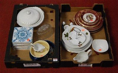Lot 45-Two boxes of miscellaneous china and glassware,...