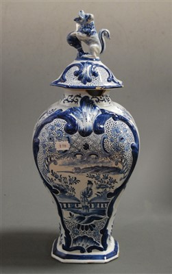 Lot 6-A 19th century Dutch Delft blue and white vase...