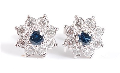 Lot 2502-A pair of white metal and sapphire circular...