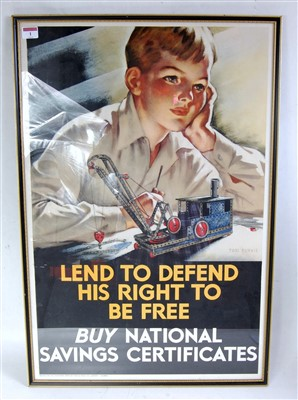 Lot 1-An original war time National Savings poster...