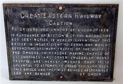 Lot 11-An original cast iron Great Eastern Railways...