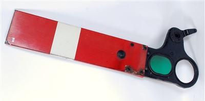 Lot 12-An original cast iron enamel BR home signal arm...