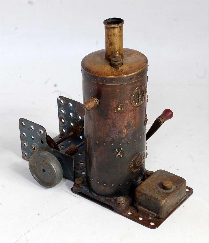 Lot 19-A very rare Meccano 1920s steam engine comprising ...
