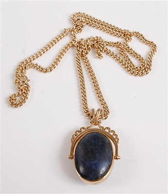 Lot 2512-A 9ct yellow gold swivel fob pendant, featuring...