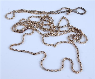 Lot 2517-A yellow metal oval link guard chain, unmarked...