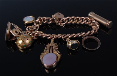 Lot 1178-A 9ct gold curblink bracelet, containing a...