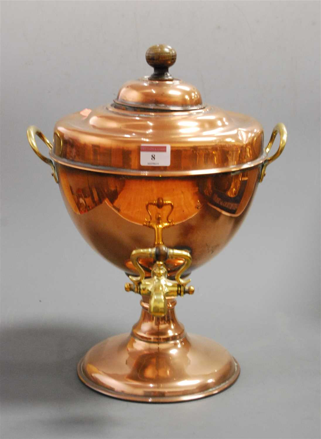 Lot 8-An early 20th century copper samovar having twin...