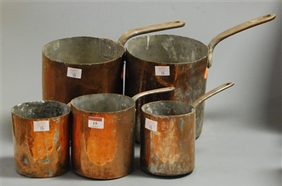 Lot 15-A set of five 19th century riveted copper pans,...