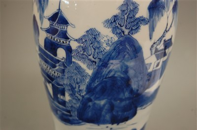 Lot 19-A Chinese export blue and white vase and cover,...