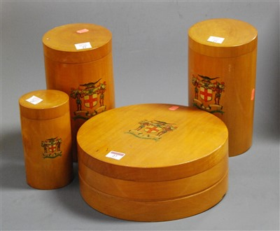 Lot 27 - A set of four treen storage containers, each...