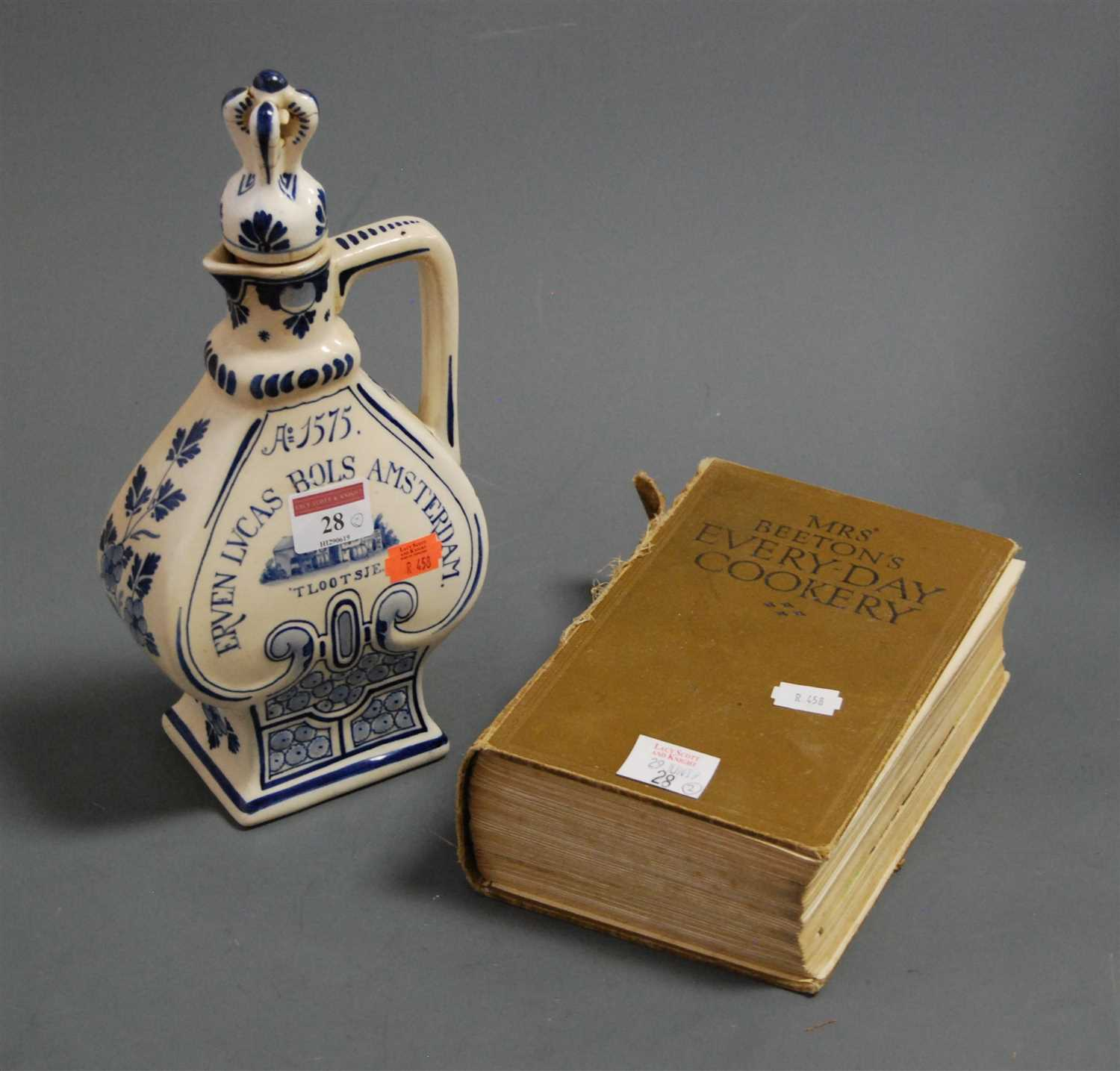 Lot 28-A Dutch delft blue and white decanter and stopper;...