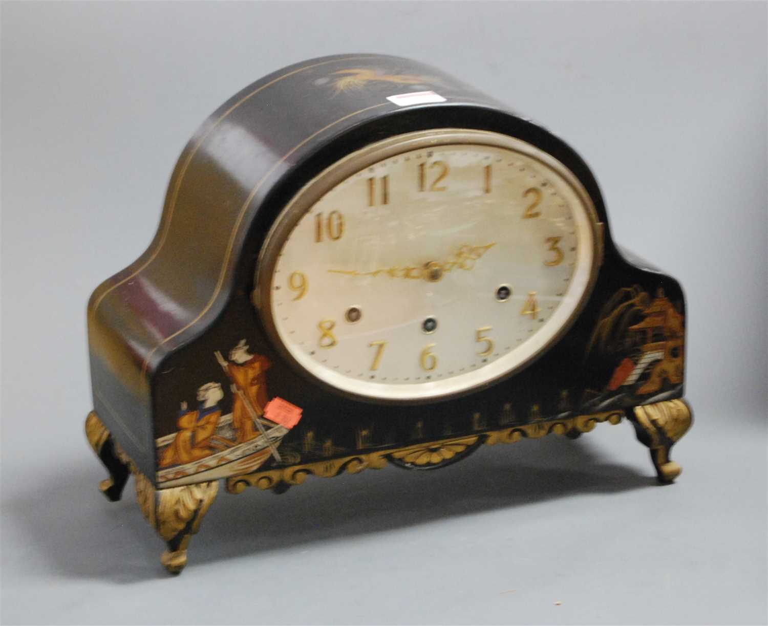 Lot 33-A 1920s chinoiserie decorated mantel clock,...