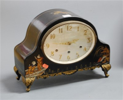Lot 33 - A 1920s chinoiserie decorated mantel clock,...