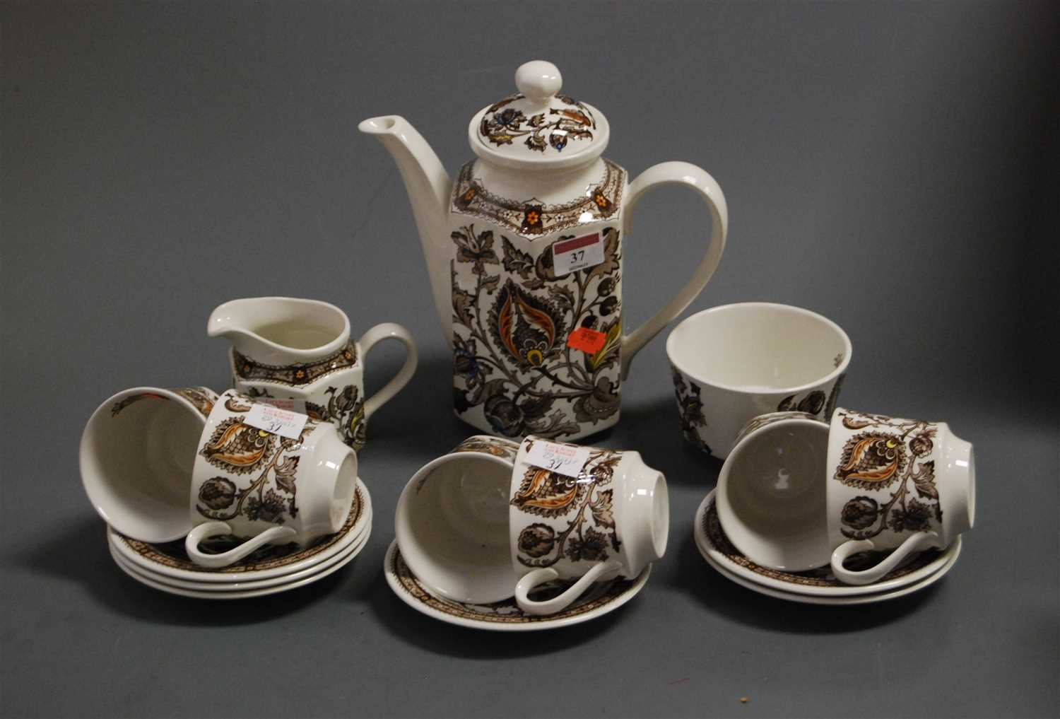 Lot 37 - A Ridgeway Ironstone six place setting coffee...