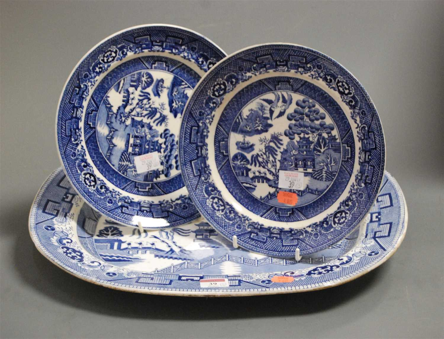 Lot 39-A large Victorian ironstone blue and white meat...