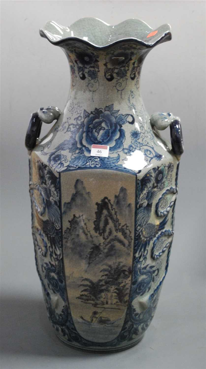 Lot 46 - A reproduction Chinese style blue & white vase...