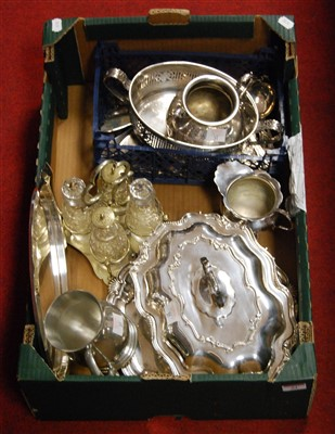 Lot 51 - A box of miscellaneous silver plate to include...