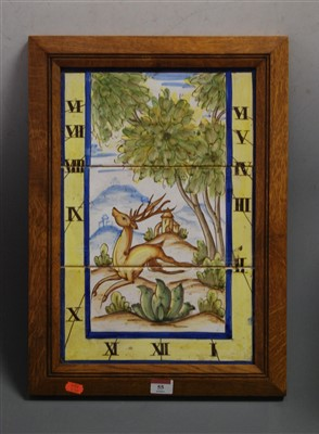 Lot 55-Three glazed Spanish ceramic tiles depicting stag ...