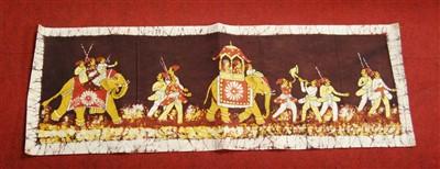 Lot 61-An Indian printed silk panel, depicting various...