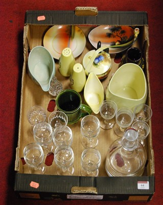 Lot 64 - A box of miscellaneous china and glassware, to...