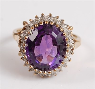 Lot 2519-A 9ct yellow and white gold, amethyst and diamond ...