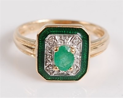 Lot 2523-A 14ct yellow gold, emerald and diamond octagonal ...