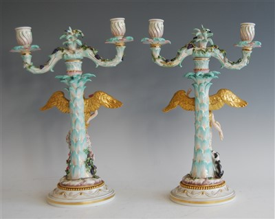 Lot 1001-A pair of 19th century Meissen porcelain figural...