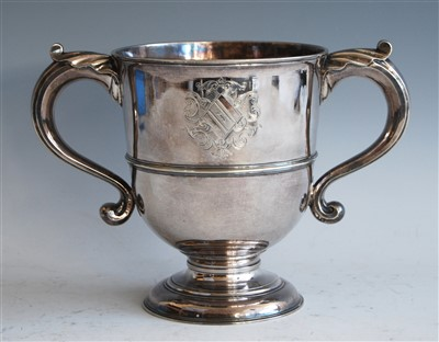 Lot 1062 - A George II silver twin handled loving cup,...