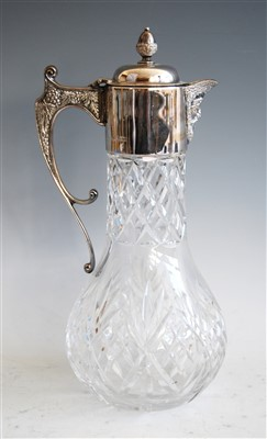 Lot 1065 - A modern cut glass and silver mounted claret...