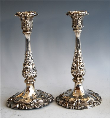 Lot 1064 - A pair of early Victorian silver candlesticks,...