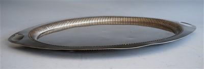 Lot 1067 - An Edwardian silver twin handled drinks tray,...