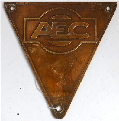 Lot 67-A brass bus or lorry triangular maker's plate AEC