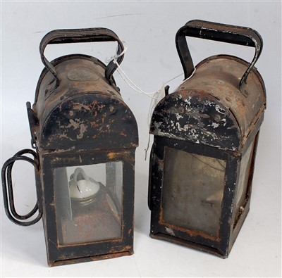 Lot 65-A pair of railway hand-lamps for inspection use,...
