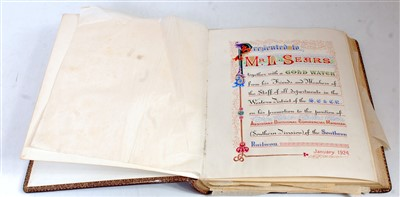 Lot 56-A presentation certificate from the London...