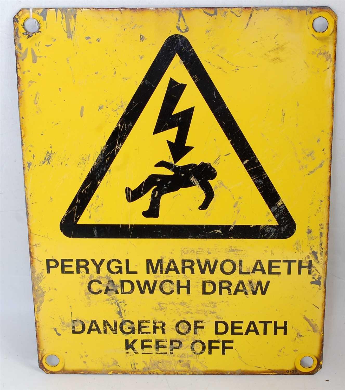 Lot 37-An enamel sign, dual language English/Welsh...
