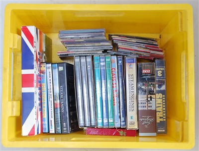 Lot 60-A box of railway related DVDs and CDs, some...