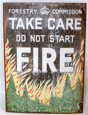 Lot 39-A forestry pictorial enamel sign