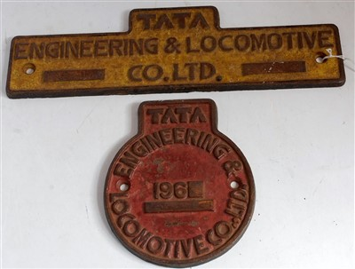 Lot 66-A pair of Indian Railway TATA workplates 1960, so ...