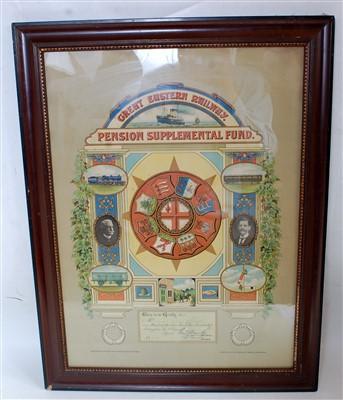 Lot 72-GER pension certificate for E Hood, ganger, from...