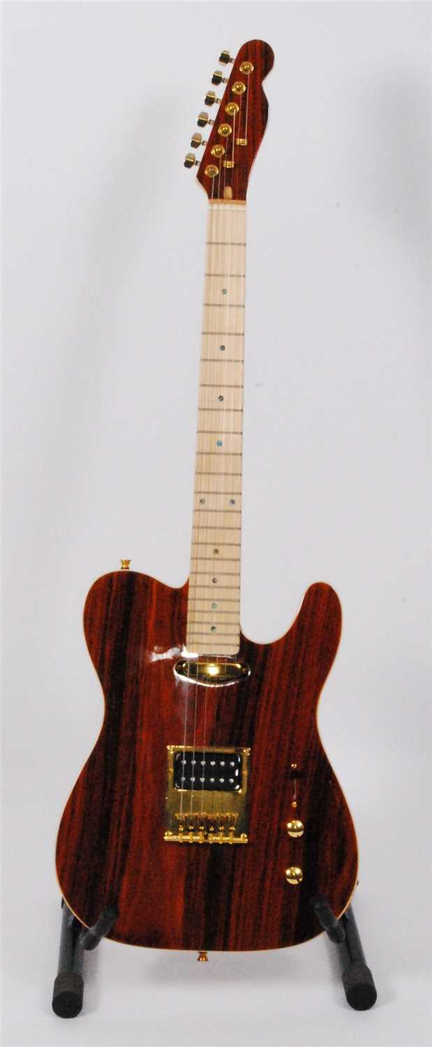 Lot 606-A Santander telecaster electric guitar, in faux rosewood finish