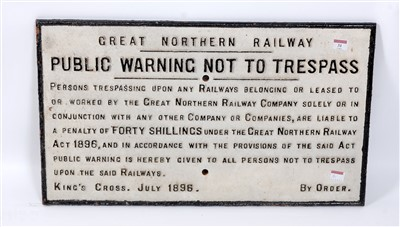 Lot 31-A large cast iron sign, Great Northern Railway...
