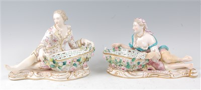 Lot 1014-A pair of late 19th century Dresden porcelain...