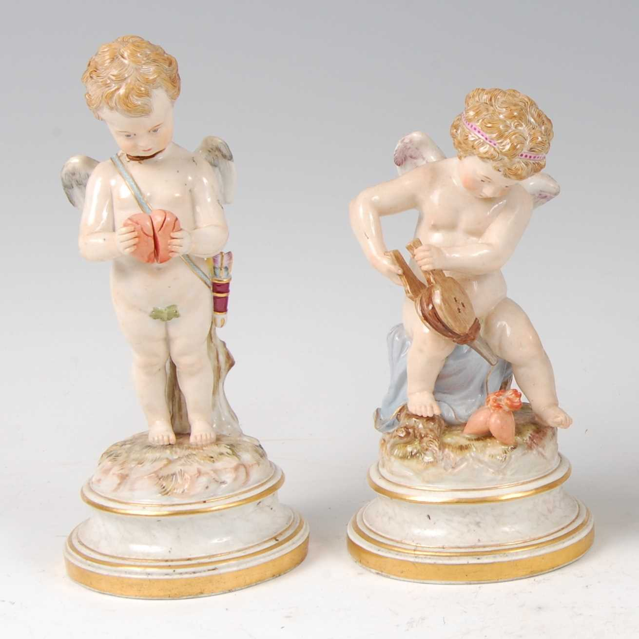 Lot 1002-A pair of circa 1900 Meissen porcelain figures of ...