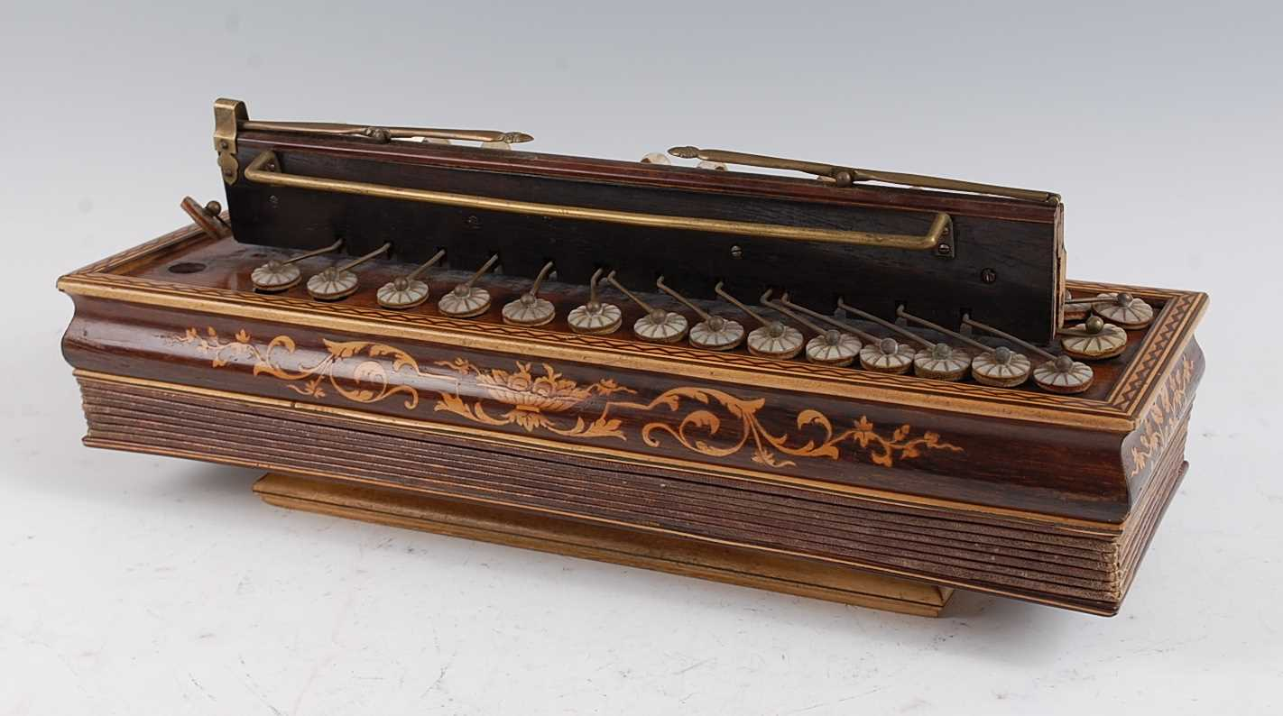 Lot 618-A 19th century French rosewood and marquetry inlaid flutina