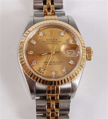 Lot 1247 - An Oyster steel and yellow lady's Rolex...