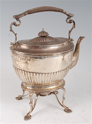 Lot 1081 - A Victorian silver spirit kettle on stand, the...
