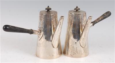 Lot 1087 - An Edwardian silver chocolate pot, of plain...