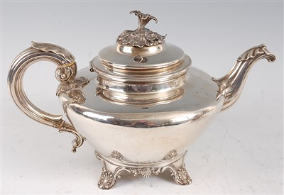 Lot 1091 - A George IV silver teapot, of squat circular...