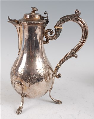 Lot 1093 - An early 19th century French silver coffee pot,...